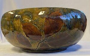 "Royal Doulton Lambeth Stoneware Bowl ""Autumn Natural Foliage Ware"" c1920's"