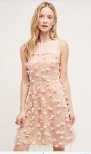 Anthropologie Eva Franco Flutter Fleur Dress 8 Tulle Flower Blush Pink USA