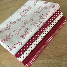 CHILLED CATS Fat Quarter Bundle {A} 100% cotton craft fabrics Red Taupe Dot Cat
