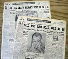 2 1959 headline newspapers w DEATH of early NFL football commissioner BERT BELL