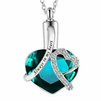 Always Heart Cremation Locket Urn Pendant Ashes Silver Necklace Funeral - UK