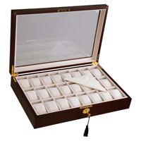 24 Slot Cherry Wood Watch Box Display Case Glass Top Jewelry Storage Organizer