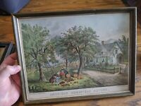 CURRIER & IVES AMERICAN HOMESTEAD AUTUMN ANTIQUE VTG PRINT WOOD PICTURE FRAME 12