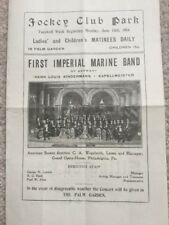 1904 Program Louisville KY Jockey Club Park First Imperial Marine Band Germany