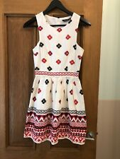 TOPSHOP ivory cream tapestry print aztec empire sun dress size 6 Euro 34