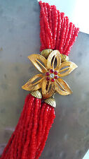 VTG Holiday Red Rhinestone Flower Clasp Multi Strand Statement Choker Necklace