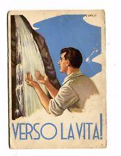 Vintage Postcard ITALY WW2 man at waterfall VERSO LA VITA!! propaganda