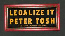 1976 Peter Tosh Columbia Records promo bumper sticker Legalize It