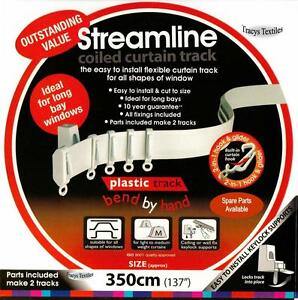 """3.5 mtr (137"""") Bendable Straight & Bay Window Coiled Curtain Track Rail PVC"""