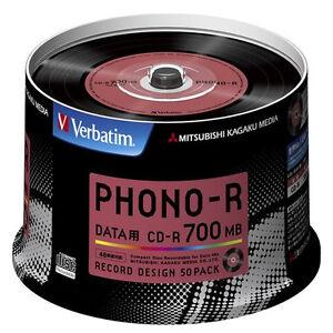 50 Verbatim Japan Blank CDR Discs 700MB 48x CD-R SR80PH50V1 Record Design