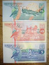 Set of 3 diff. Suriname 1990's 5, 10 & 25 Gulden Au-Unc.