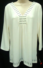 *NWT Rafaella Ivory Blouse/Top with Stud Accents sz Medium-Org $58 Very Nice!!