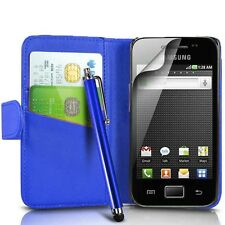 BLUE LEATHER WALLET CASE,FILM & STYLUS PEN FOR  SAMSUNG GALAXY ACE S5830