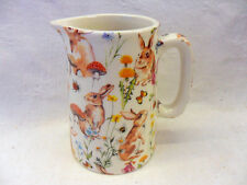 Rabbit meadow design half pint jug pitcher jug by Heron Cross Pottery
