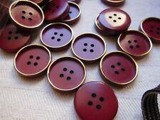 lote 12 botones rojo oscuro dorado 4 agujeros costura mercería diámetro: 1,7 cm