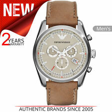 Emporio Armani Sportivo Men's Watch¦Round Cream Dial¦Taupe Leather Strap¦AR6040