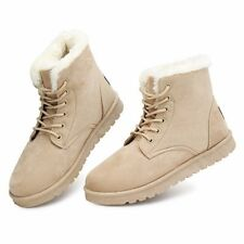 Womens Winter Warm Casual Faux Suede Fur Lace-up Ankle Boots Snow Bootie Shoes