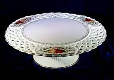 Old Country Roses Royal Albert China Footed Cake Plate Stand 1963 Lattice Work
