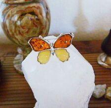 Vintage echter baltischer Top-Grade Butterscotch Bernstein Brosche Schmetterling