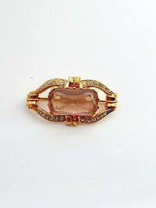 Vintage Gold Tone Pink/ Clear Stones Brooch