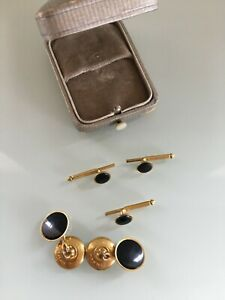 swank Gold Plated Cuff Link and Studs