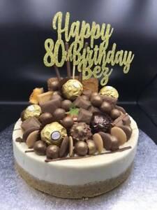 Custom Cake Topper Happy 80th Birthday Glitter Any Words, Date,