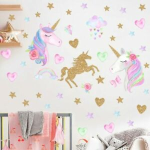 Unicorn Horse Star Heart Shape Pattern Cartoon Wall Sticker Kids Room Decoration