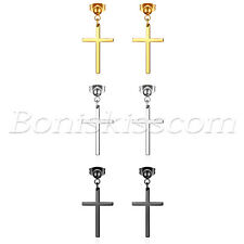 Earrings Studs Men Women Piercing Jewelry 6pcs Stainless Steel Cross Drop Dangle