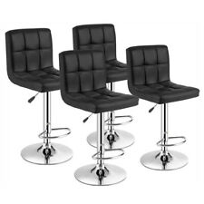 Set of 4 Bar Stools Pu Leather Swivel Adjustable Kitchen Pub Dinning Chair Black
