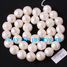 "11-12mm Natural Nearly Round White Freshwater Pearl Gemstone Beads Strand 15"""