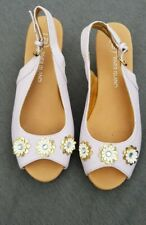 🌸🌺💓💜 River Island Lilac Gold Flowers Slingback Wedge Heel Sandals Uk4 🌸🌺💓