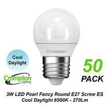 5 X 3w LED Cool Daylight Globes Bulbs Lamps E27 Screw 6500k Round ES Pearl