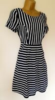 Oliver Bonas Dress Sz 8 Navy White Striped Nautical Summer