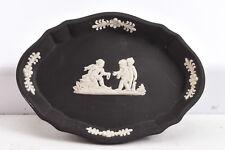 Wedgwood Cream on Black Jasperware Pin Trinket Dish V26