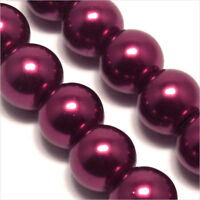 20 perles Nacrées 10mm Rouge Grenat en verre de Bohème