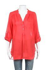 ELLISON Blouse Small Orange Satin Semi-Sheer Button Long Sleeve Loose Fit Top