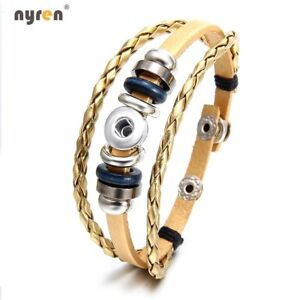 Genuine Leather Charms Bracelet Multi Color For 12mm snap button Snap Jewelry
