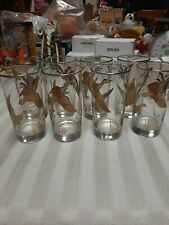 Vintage Mid Century Water Glasses With Gold Flying Geese ( 8 )