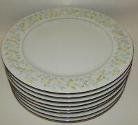 8 Crown Ming Fine China Jian Shiang Spring Garden Yellow Floral Dinner Plates