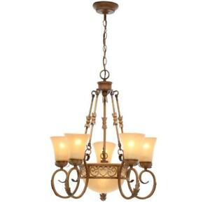Florentina 6-Light Amandale Chandelier with Satin Avorio Glass Shades