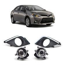 Black Bezel Chrome Trim Fog Lights Driving Lamps Pair for Toyota Corolla 2014+