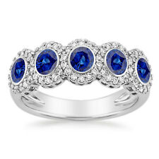 Gemstone Diamond Ring Size 7 6 5.5 4.5 0.43 Ct Blue Sapphire 14K Real White Gold