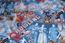 Baumwolle Stretch Stoff blau Bowling Kleiderstoff Dekostoff Meterware #1150