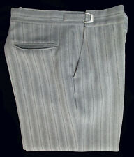 Unique Men's Grey Hickory Striped Trousers Pants Morning Dress Adjustable Waist