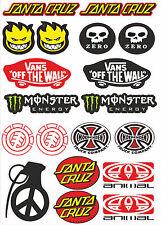Sticker Sheet Skate Skateboard BMX Scooter Stickers monster vans santa cruz 19