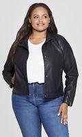 Ava & Viv 4X Moto Jacket Faux Leather Black Long Sleeve Womens Plus