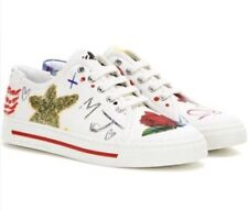 Marc Jacobs Christy Off White Sneakers Fashion Embellished Glitter Print Sz 8