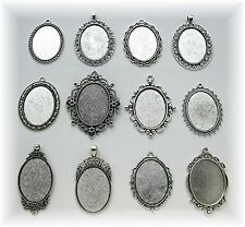 30mm Cameo Pendant Frame Settings craft Lot 12 new mixed Ant. Silvertone 40mm x