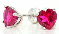 2 Ct Created Ruby 6mm Heart Stud Earrings White Gold Silver
