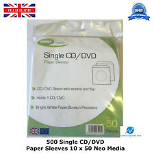 500 Single CD DVD Paper Sleeves Wallet New High Quality 50 Per Pack Neo Media